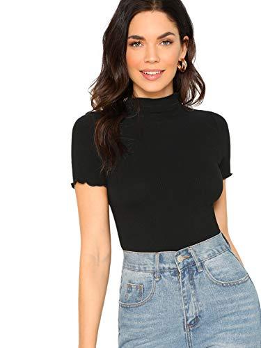 SheIn Women's Cute Mock Neck Short Sleeve T Shirts Lettuce Trim Juniors Tee Tops Medium Trim-Black