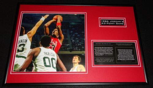 Michael Jordan 1986 63 Point Game Bulls Framed 12x18 Photo Display