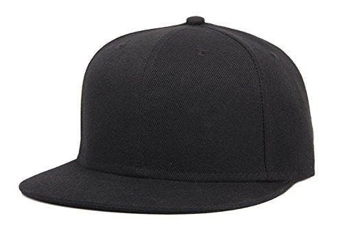 So'each Unisex Cool Pure Colour Flat Bill Visor Snapback Cap Baseball Hat Black