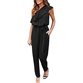 Women Jumpsuit ,Kaifongfu Casual Ruffles Off The Shoulder Cocktail Party Chiffon Jumpsuit