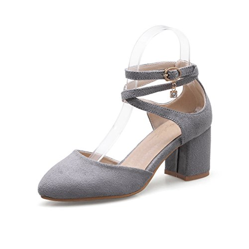 BalaMasa Womens Cold Lining Huarache Pointed-Toe Urethane Sandals ASL04922 Gray rIgkNU3