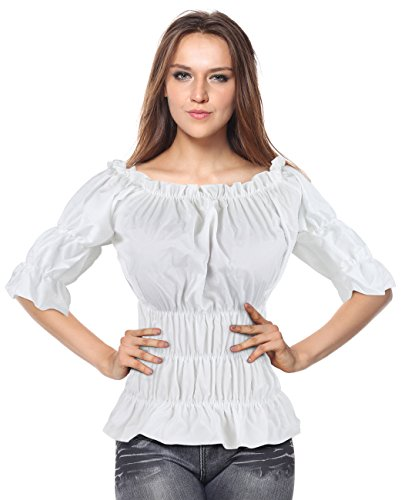 Charmian Women's Off Shoulder Short Sleeves Ruffles Blouse Shirt Crop Top White Large]()