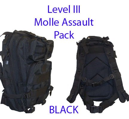 Level III Lv3 Molle Assault Pack Backpack–BLACK, Outdoor Stuffs