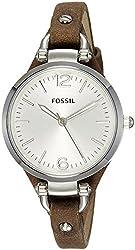 Fossil Women's ES3060 Georgia Three Hand Tan Leather Strap Watch