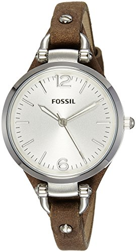 Fossil Womens ES3060 Georgia Three Hand Tan Leather Strap Watch
