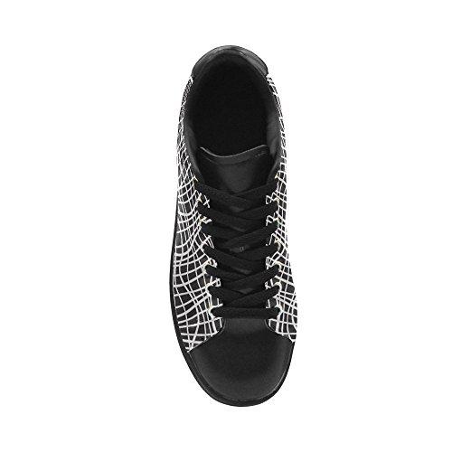 D-story ResuHombres De Patrones Sin Fisuras Con Rejilla De Cuero Hombres Low Top Sneakers