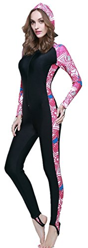 SANKE Mujer traje de baño de manga larga trajes de buceo de todo el cuerpo depor Rose Red