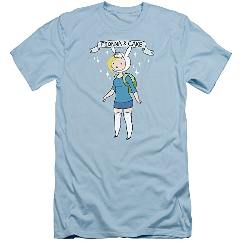 Adventure Time Fionna & Cake Slim Fit Unisex Adult T Shirt for Men and Women, Medium Light Blue (Fionna And Cake Shirt)
