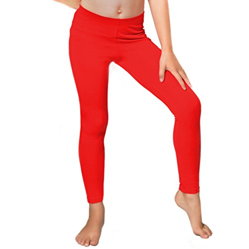 Stretch is Comfort Girl's Cotton Footless Leggings Red Small ()