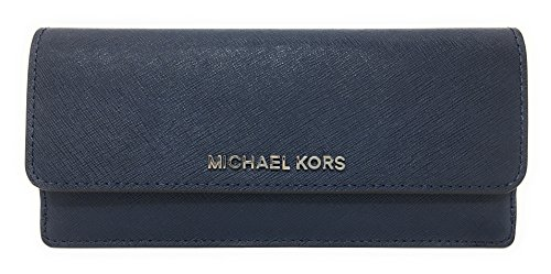 Michael Kors Jet Set Travel Flat Saffiano Leather Wallet (Navy with Silver Hardware) -