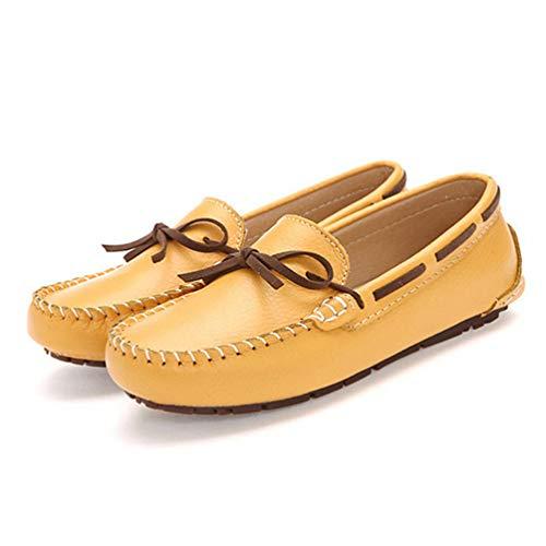 Mocassins Au Femmes De Rond Bateau Glissent Vachette pour en Bout Jaune  Chaussures Garder Mocassins Le Plates Les Cuir Chaud sur Papillon d hiver  en Peluche ... 377988a9ddb0