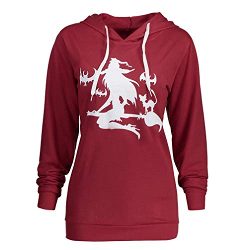 LisYOU Clearance Unisex Halloween Pumpkin Devil Sweatshirt Pullover Hoodies (M,Wine Red)