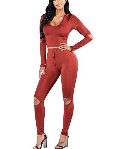 Mujer Conjuntos Deportivos Sudadera Con Capucha Corta la Rodilla Pantalones Largos Con Agujeros Rojo