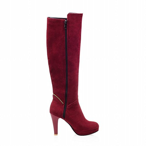 Red Elegant Heel High Carolbar Boots Long Zippers Charm Women's 7HE8U