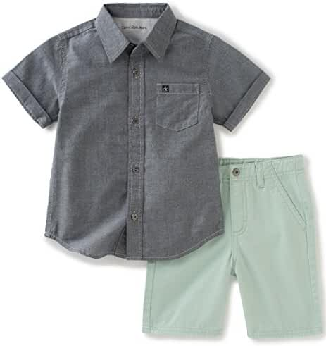 Calvin Klein Baby Boys' 2 Pieces Shirt Short Set-Wash Chambray
