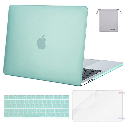 MOSISO MacBook Pro 13 Case 2018 2017 2016 Release A1989/A1706/A1708, Plastic Hard Shell & Keyboard Cover & Screen Protector & Storage Bag Compatible Newest Mac Pro 13 Inch, Mint Green