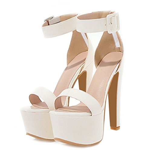 SJJH Sexy Sandals with High Stiletto and Thick Platform Dressy Sandals with Large White 97B8BV6n