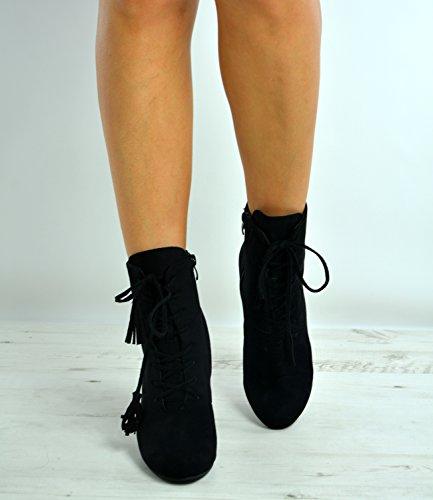 Cucu Up Block Mid Heel Ladies New Shoes Uk Nero Taglia 8 Womens 3 Stivaletti Brand Lace Fashion SqxFrRSB