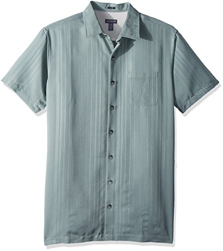 Van Heusen Men's Tall Size Big Short Sleeve Rayon Poly Engineered Panel Shirt, Green Chinois Green, 3X-Large by Van Heusen