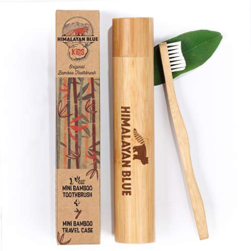 Himalayan Blue Kids and Toddlers Natural Biodegradable Bamboo Toothbrush Travel Set with Case - Organic Soft Bristles - Camping, mountain, school, travel, sports, activities