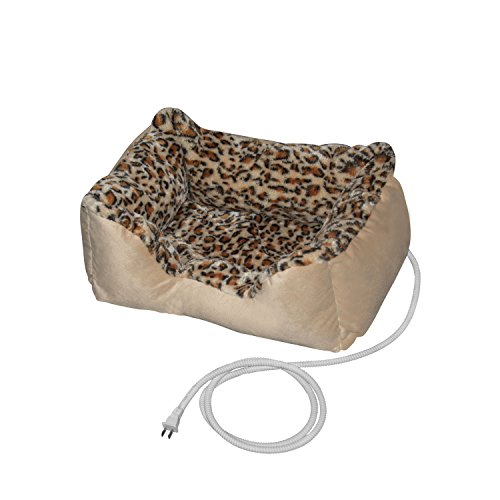 ALEKO PBH20X16X8 Electric Thermo-Pad Heated Pet Bed for Dogs and Cats 20 x 16 x 8 Inches Leopard Print (Bed Cat Leopard)