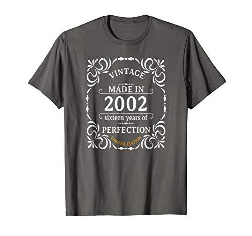 Vintage Made In 2002 Sweet 16 Birthday Gift Idea TShirt 16th -