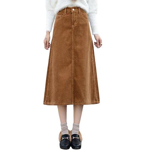 Orange Corduroy Skirt (VMANNER Corduroy Skirt Women's Plus Size High Waist A-Line Corduroy Mid-Length Skirt)