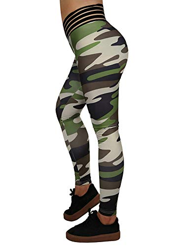 Meilidress Womens Ruched Butt Lifting Leggings High Waisted Workout Sport Tummy Control Gym Yoga Pants (2-Camouflage, Large)