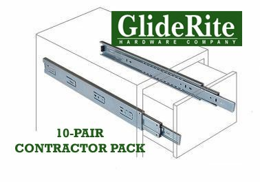 GlideRite Hardware 1470-ZC-10 14 Inch Side Mount Full Extension Ball Bearing Drawer Slides with 1 Inch Over-Travel 10 Pack 14'' 1'', 100 lb, Silver by GlideRite Hardware