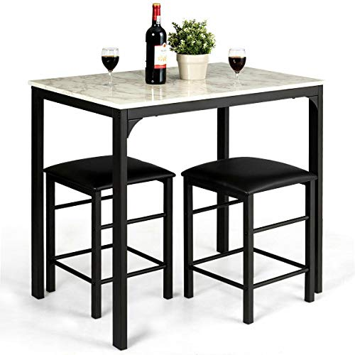 Dining Set Table 2 Chairs Counter Height Faux Marble Kitchen Bar White Set of 3