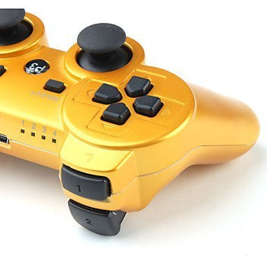 Wireless Bluetooth Controllers, Donop® Gaming pad joysticks include Donop Black silicone wristband for Sony PlayStation 3 Double Shock PS3 - Gold