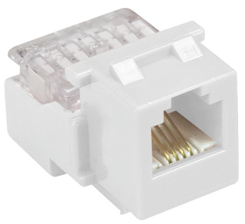 Allen Tel AT28-15 Category 3 Compact Jack Module, White, 1 Port, EIA/TIA 568A/B Wiring, 110 Termination, 8 Conductor