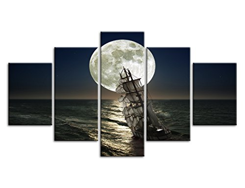 Yatsen Bridge 5 Pcs Pirate Ship Sea Moon Landscape Canvas Prints Paintings On Giclee Canvas Wall Art Modern Stretched Blue Ocean Seascape Pictures Artwork Home Decor Ready to Hang(50''W x 24''H)