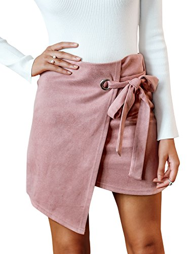 BerryGo Women's Faux Suede High Waist Tie Up Party Pencil Mini Skirt Nude Pink,L ()