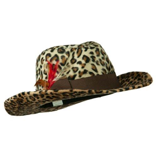 Two Tone Woman's Cowboy Feather Hat - Cheetah OSFM]()