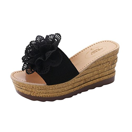 DAYLIN Newest Clearance Summer 8cm Round Toe Floral Platform Waterproof Women Sandals Wedge Sandals Slippers Shoes Hot Sell Black