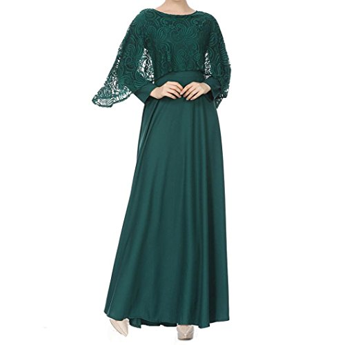 Women Muslim Dress,Koolee Muslim Eid Long Dress Skirts Long Sleeves Kaftan Holiday Lace Chiffon Maxi Dress (XL, -