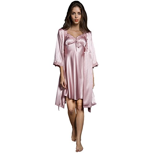 SUNBABY Women Sexy Silk Satin Robe Camisole Pajama Dress Two Piece Suit Sleepwear (L, - Dresses Exquisite Silk