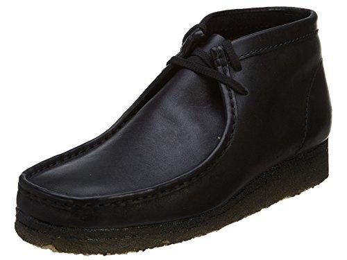 Clarks Men's Wallabee B Chukka Boot,Black Leather,9.5 M US