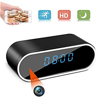 WiFi Clock Hidden Camera 1080P Spy Camera in Clock WiFi Hidden Cameras 1080P Video Recorder Wireless IP Camera for Indoor Home Security Monitoring Nanny Cam 140°Angle Night Vision Motion