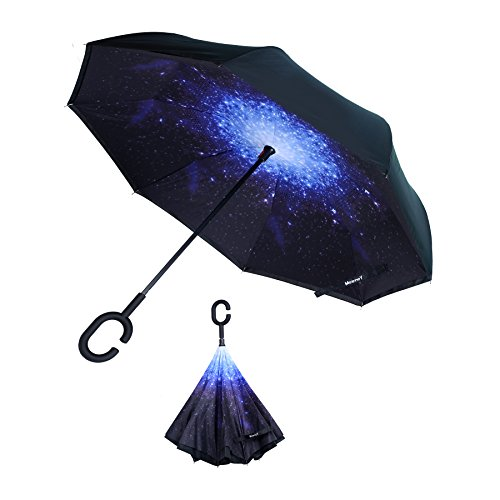 Ying source Inverted Umbrella, Reverse Folding Double Layer Inside Out Outdoor Rain Away Car Umbrella (Starry Sky) (Umbrella Source)