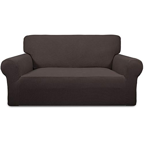 Easy-Going Stretch Sofa Slipcover Sofa Cover Furniture Protector Couch Soft with Elastic Bottom Anti-Slip Foam Kids,Polyester Spandex Jacquard Fabric Small Checks(loveseat,Chocolate)