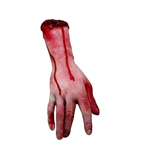 1PC Bloody Hand Halloween Body Parts Zombie Skinned Bloody Fake Lifesize Arm Hand Cosplay Prop Deter Creepy Severed Hand Walking (Life Size Severed Hand)