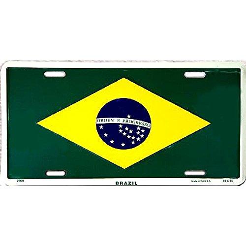 (Signs 4 Fun SL2368 Brazil Flag License Plate)