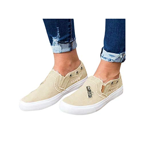 Dressin Womens Canvas Shoes Fashion Flat Sports Running Shoes Summer Zipper Beach Shoes Casual Travel Shoes