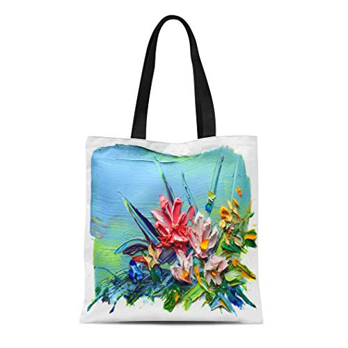 (Semtomn Canvas Tote Bag Shoulder Bags Blue Abstract Oil Painting Bouquet of Flowers Impressionist Women's Handle Shoulder Tote Shopper Handbag)