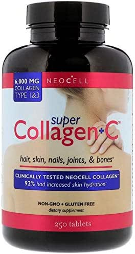 Super Collagen Increased Skin Hydration 6000 mg Vitamin C Type 1 & 3 Hair Skin Nails Joints Bones Non GMO Gluten Free 250 Tablets