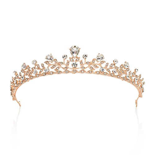 SWEETV Crystal Wedding Tiara for Bride - Princess Tiara Headband Pageant Crown, Bridal Hair Jewelry for Women and Girls, Rose Gold