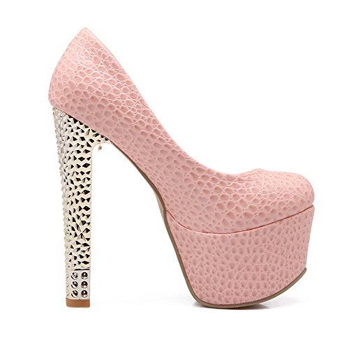 Allhqfashion Mujer Charol Material Suave Slip-on Tacón de Aguja Puntera Redonda ZapatosdeTacón Rosa