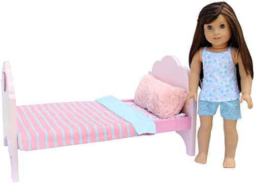 PZAS Toys Doll Bed - Doll Bed for 18 Inch Doll, Complete Set with Linens, Pillows, and 18
